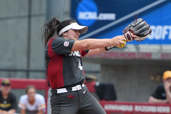 Mary Haff pitches against Wichita State Sunday May 20, 2018 during the NCAA Regional Softball Tournament at Bogle Park in Fayetteville.