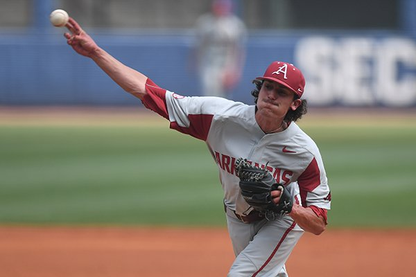 Arkansas pitcher Blaine Knight throws during an SEC Tournament game against Florida on Friday, May 25, 2018, in Hoover, Ala.