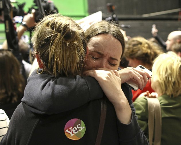people-from-theyes-campaign-react-as-the-results-of-the-votes-begin-to-come-in-after-the-irish-referendum-on-the-8th-amendment-of-the-irish-constitution-at-the-rds-count-centre-in-dublin-ireland-saturday-may-26-2018-a-leading-anti-abortion-group-says-irelands-historic-abortion-referendum-has-resulted-in-a-tragedy-of-historic-proportions-in-a-statement-that-all-but-admits-defeat-as-two-exit-polls-predict-an-overwhelming-victory-for-those-seeking-to-overturn-the-countrys-strict-ban-on-terminations-ap-photopeter-morrison