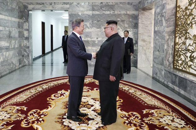 in-this-photo-provided-by-south-korea-presidential-blue-house-via-yonhap-news-agency-north-korean-leader-kim-jong-un-right-and-south-korean-president-moon-jae-in-left-shake-hands-before-their-meeting-at-the-northern-side-of-the-panmunjom-in-north-korea-saturday-may-26-2018-kim-and-moon-have-met-for-the-second-time-in-a-month-to-discuss-peace-commitments-they-reached-in-their-first-summit-and-kims-potential-meeting-with-president-donald-trump-south-korea-presidential-blue-houseyonhap-via-ap