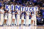 Kentucky cheerleaders perform during an NCAA college basketball game against Florida, Saturday, Jan. 20, 2018, in Lexington, Ky. (AP Photo/James Crisp)