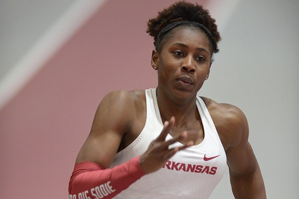 Arkansas' Jada Baylark competes in the 200-meter invitational Saturday, Feb. 10, 2018, during the Tyson Invitational in the Randal Tyson Track Center in Fayetteville.