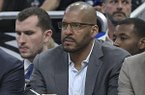 Orlando Magic assistant coach Corliss Williamson watches from the bench during the first half of an NBA basketball game against the New York Knicks Thursday, Feb. 22, 2018, in Orlando, Fla. (AP Photo/Phelan M. Ebenhack)
