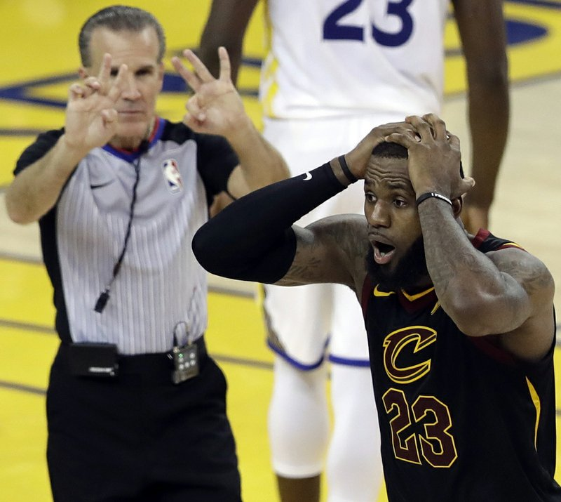 46bc30310d7 Cleveland Cavaliers forward LeBron James (23) reacts to a call during the second  half of Game 1 of basketball s NBA Finals between the Golden State Warriors  ...