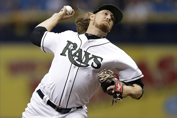 Tampa Bay Rays' Ryne Stanek pitches to the Baltimore Orioles during the first inning of a baseball game Saturday, May 26, 2018, in St. Petersburg, Fla. (AP Photo/Chris O'Meara)