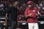 Arkansas head coach Dave Van Horn, right, talks with home plate umpire Linus Baker during an NCAA Tournament game against Dallas Baptist on Sunday, June 3, 2018, in Fayetteville.