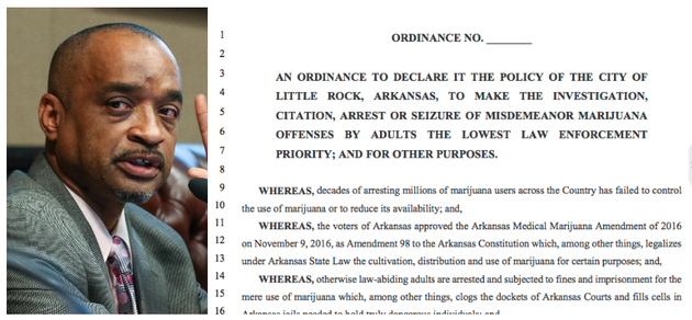 ward-2-city-director-ken-richardson-is-shown-in-this-file-photo-beside-a-portion-of-his-proposed-ordinance-that-would-have-made-misdemeanor-marijuana-arrests-the-lowest-priority-for-the-little-rock-police-department