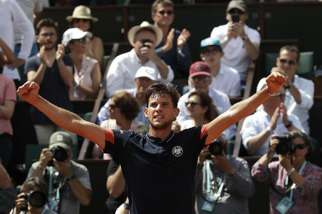 Austria's Dominic Thiem will meet Rafael Nadal in the French Open final Sunday. Thiem defeated Marco Cecchinato in Friday's semifinal 7-5 7-6