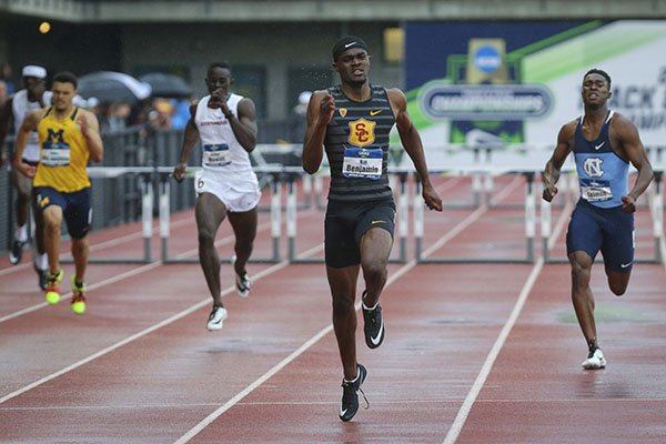 Southern California's Rai Benjamin wins the men's 400 hurdles in 47.02 seconds on the third day of the NCAA Outdoor Track and Field Championship at Hayward Field on Friday, June 8, 2018, in Eugene, Ore. (Andy Nelson/The Register-Guard via AP)