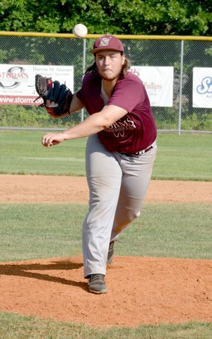 Graham Thomas/Siloam Sunday Storms Orthodontics Siloam Post 29 pitcher Chance Junkermann throws a pitch during Wednesday's game against Russellville.