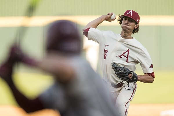Arkansas pitcher Blaine Knight throws during an NCAA Tournament game against South Carolina on Saturday, June 9, 2018, in Fayetteville.