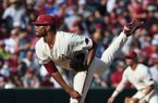 Arkansas' Isaiah Campbell pitches against South Carolina Monday June 11, 2018 during the NCAA Super Regional at Baum Stadium in Fayetteville.