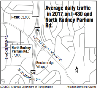 map-showing-average-2017-daily-traffic-on-i-430-and-north-rodney-parham-rd