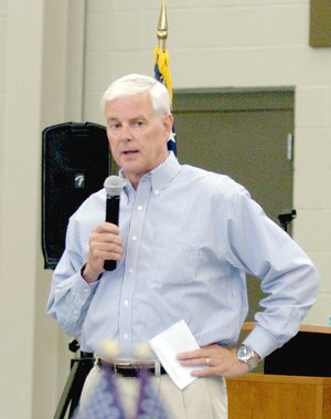 MARK HUMPHREY ENTERPRISE-LEADER Congressman Steve Womack, shown speaking at a sendoff he hosted for appointees to military service academies in 2017, has appointed local athletes, Zeke Laird of Prairie Grove to West Point in 2017; and Javan Jowers, of Farmington to the Air Force Academy in 2018.