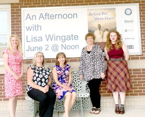 Photo submitted The Bentonville and Bella Vista Public Libraries co-hosted An Afternoon with Lisa Wingate, the kick-off event of her Arkansas Book Tour. The event was sponsored by the Friends of the Bella Vista Public Library and the Friends of the Bentonville Public Library. Pictured (left to right) are Heather Hays, Courtney Fitzgerald, Lisa Wingate, Roxie Wright, and Bailley Kinser.