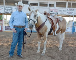 Graham Thomas/Herald-Leader Siloam Springs Rodeo announcer Jeff Lee and his horse and co-star Dusty will be in action this week at the 60th annual Siloam Springs Rodeo.
