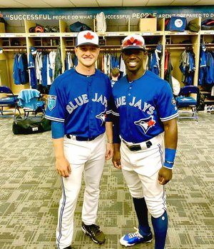 Submitted photo Prairie Grove 2014 graduate Ty Tice (left) poses with fellow UCA alumni Jonathan Davis during spring training when both were temporarily assigned to the Toronto Blue Jays. Tice was selected in the 16th round of the 2017 MLB draft. Davis is a Camden native, who was drafted in the 15th round in the 2013 First-Year Player draft.