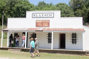 PHOTOS BY LYNN KUTTER ENTERPRISE-LEADER The R.L. Leach store, now on the National Register of Historic Places, was open Saturday for people to see the inside of the restored building.