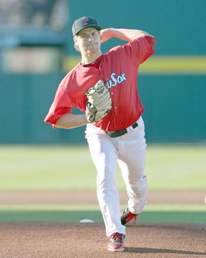 Kelly O'Connor photo/Prairie Grove native Jalen Beeks, shown pitching in an April 21, 2018, for the Pawtucket Red Sox, known as the PawSox, made his Major League Baseball debut on Thursday, June 7, 2018 as starting pitcher for the Boston Red Sox against the Detroit Tigers. Beeks was sent back to Pawtucket following the game.