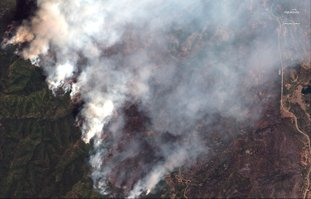 The Associated Press FIRES BY SATELLITE: This Sunday satellite image provide by DigitalGlobe shows the 416 Fire northwest of Hermosa, Colo. At right Highway 550 is visible.