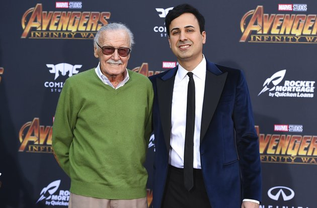 in-this-april-23-2018-file-photo-stan-lee-left-and-keya-morgan-arrive-at-the-world-premiere-of-avengers-infinity-war-in-los-angeles