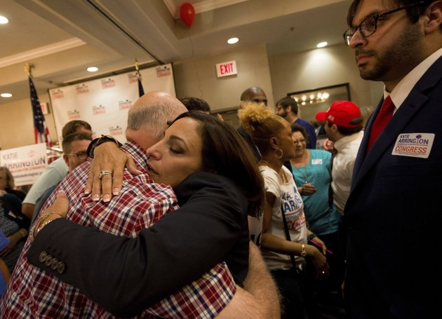 state-rep-katie-arrington-hugs-supporters-as-she-defeated-us-rep-mark-sanford-at-the-doubletree-by-hilton-hotel-for-katie-arringtons-results-party-on-tuesday-june-12-2018-in-north-charleston-sc-andrew-whitakerthe-post-and-courier-via-ap
