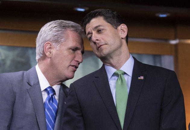 house-majority-leader-kevin-mccarthy-r-calif-and-speaker-of-the-house-paul-ryan-r-wis-confer-during-a-news-conference-following-a-closed-door-gop-meeting-on-immigration-on-capitol-hill-in-washington-wednesday-june-13-2018-ap-photoj-scott-applewhite