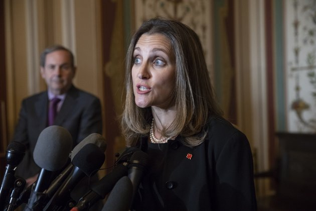 canadian-minister-of-foreign-affairs-chrystia-freeland-speaks-with-reporters-after-meeting-with-the-us-senate-foreign-relations-committee-at-the-capitol-in-washington-wednesday-june-13-2018-freelands-visit-comes-after-president-donald-trump-insulted-canadian-prime-minister-justin-trudeau-at-the-recent-group-of-seven-summit-in-canada-calling-him-dishonest-and-weak-after-the-prime-minister-spoke-against-american-tariffs-on-steel-and-aluminum-ap-photoj-scott-applewhite