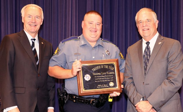 from-left-arkansas-gov-asa-hutchinson-trooper-levi-fleming-and-col-bill-bryant-director-of-arkansas-state-police