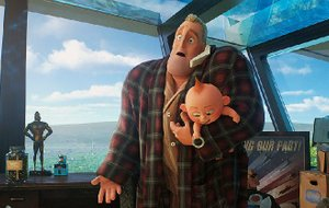Bob Parr — Mr. Incredible (voice of Craig T. Nelson) in mufti — is left alone to deal with a household full of superkids when his partner Elastigirl battles a mad criminal in Brad Bird's Incredibles 2.