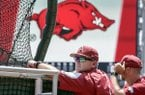 Arkansas coach Dave Van Horn follows batting practice at TD Ameritrade Park in Omaha, Neb., Friday, June 15, 2018. Arkansas plays Texas on Sunday in the NCAA College World Series baseball tournament. (AP Photo/Nati Harnik)