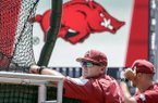 Arkansas coach Dave Van Horn follows batting practice at TD Ameritrade Park in Omaha, Neb., Friday, June 15, 2018. Arkansas plays Texas on Sunday in the NCAA College World Series baseball tournament. (AP Photo/Nati Harnik)
