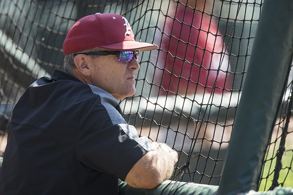 Dave Van Horn, Arkansas head coach, Thursday, May 31, 2018, during practice for the NCAA regional at Baum Stadium in Fayetteville.