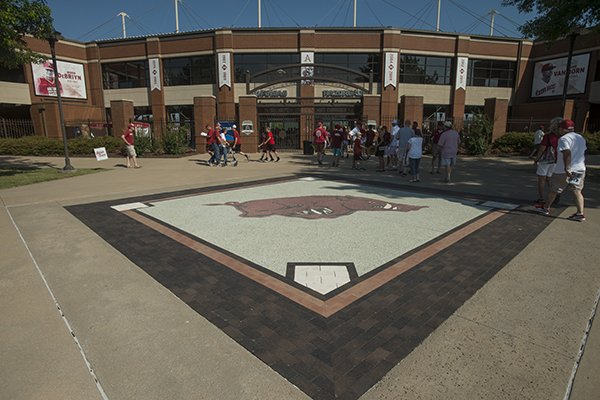 The exterior of Baum Stadium is shown prior to an NCAA super regional game between Arkansas and South Carolina on Saturday, June 9, 2018, in Fayetteville.