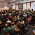 A capacity crowd attends a Fayetteville School Board meeting to determine the fate of Superintendent...
