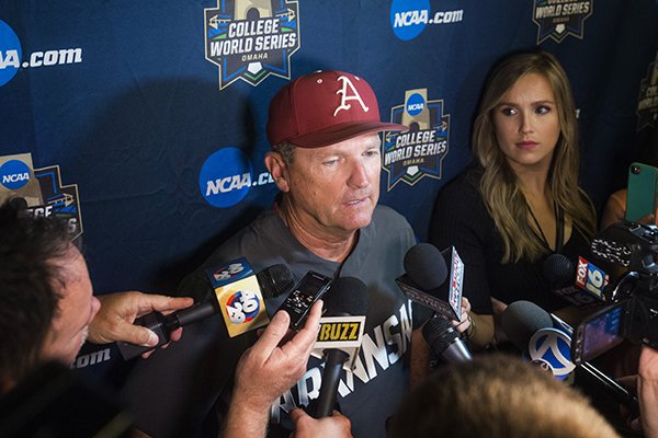 Dave Van Horn, Arkansas head coach, talks to the press Tuesday, June 19, 2018 after game eight of the NCAA Men's College World Series between Arkansas and Texas Tech was postponed at TD Ameritrade Park in Omaha.