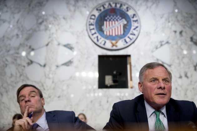 senate-intelligence-chairman-richard-burr-r-nc-right-accompanied-by-committee-vice-chairman-mark-warner-d-va-left-speaks-during-a-senate-intelligence-committee-hearing-on-policy-response-to-russian-interference-in-the-2016-us-elections-on-capitol-hill-wednesday-june-20-2018-in-washington-ap-photoandrew-harnik