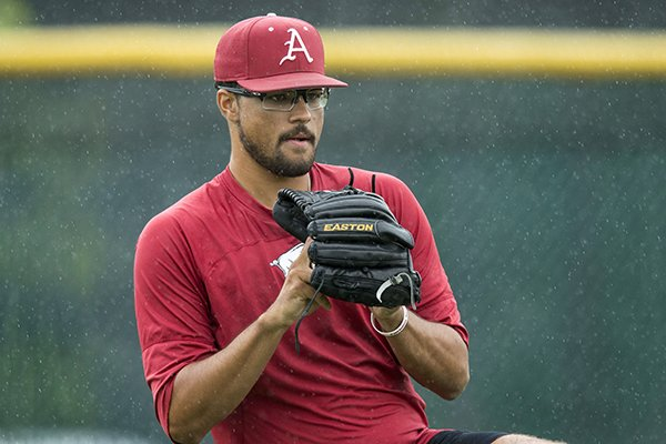 Isaiah Campbell, Arkansas pitcher, Thursday, June 21, 2018, during Arkansas practice at the Creighton pracrice field in Omaha, Neb.