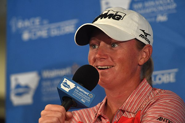 Stacy Lewis, former Razorback and current professional golfer, speaks to the press Tuesday June 19, 2018 at Pinnacle Country Club in Rogers.