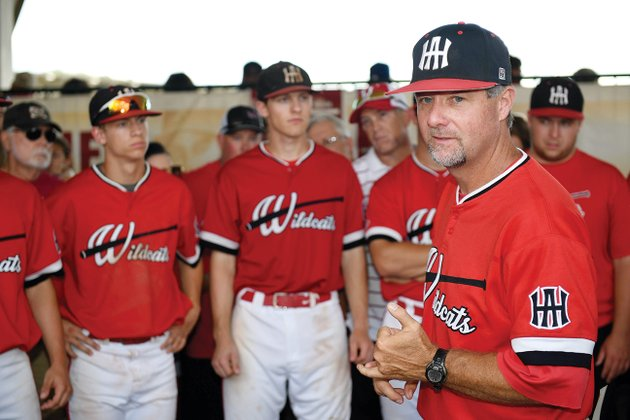 harding-academy-head-baseball-coach-shane-fullerton-speaks-to-members-of-his-team-before-the-state-championship-game-at-baum-stadium-in-fayetteville-harding-won-its-second-straight-class-3a-state-championship-in-may-fullerton-is-the-2018-three-rivers-edition-coach-of-the-year