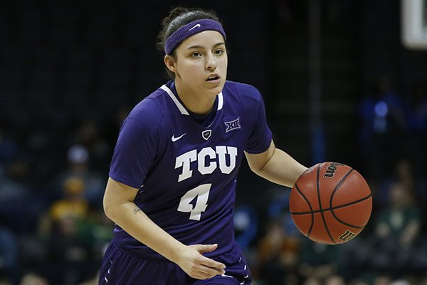 TCU guard Amber Ramirez (4) in the second half of an NCAA college basketball game against Baylor in the semifinals of the women's Big 12 conference tournament in Oklahoma City, Sunday, March 4, 2018. (AP Photo/Sue Ogrocki)