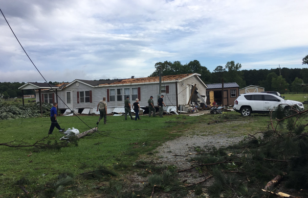 a-storm-in-saline-county-resulted-in-a-mobile-home-being-moved-off-its-foundation-according-to-lt-jeremy-whiley-of-the-arkansas-game-and-fish-commission-its-roof-was-also-ripped-off-whiley-said