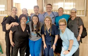 Photo submitted A team of 10 people from the Siloam Springs area traveled with Dustin's Dream to help at the Heart of Love Clinic in Guatemala City. Pictured are (front left) dental assistant Eva Hicks, translator Ana Castillo, Danae Chamberlain, nurse Carrie Stock, (back row) nurse practitioner Sara McCord, Kambryn Duncan, Dr. Carl Duncan, dentist Dr. Trent McCord, Jodi Klassin and nurse Deondra Chamberlain.