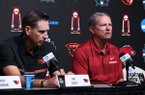Arkansas coach Dave Van Horn, right, answers a question while Oregon State coach Pat Casey listens during a news conference Sunday, June 24, 2018, at the College World Series in Omaha, Neb. The Razorbacks and Beavers will play for the national championship beginning Monday at 6 p.m.