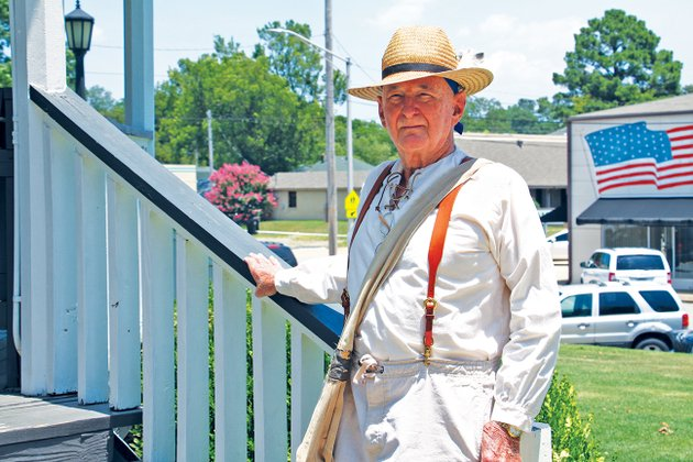 former-benton-mayor-lynn-moore-dressed-as-william-lockhart-the-founder-of-the-first-settlement-in-saline-county-stands-on-the-steps-of-the-gazebo-in-front-of-the-saline-county-courthouse-in-benton-moore-is-scheduled-to-be-the-guest-speaker-at-the-second-annual-historical-summit-on-saturday