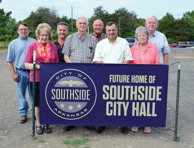 participating-in-the-groundbreaking-for-the-southside-city-hall-are-from-left-joey-sample-city-council-member-vera-byrd-city-recorder-bobby-denison-vince-gay-and-tim-fairchild-city-council-members-southside-mayor-ray-bowman-mary-bowen-city-council-member-and-byron-southerland-treasurer