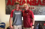 Benton pitcher Peyton Pallette poses for a picture with Arkansas coach Dave Van Horn.