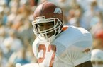 Arkansas safety Steve Atwater is shown during a game against Texas on Saturday, Oct. 15, 1988, in Austin, Texas. The Razorbacks won 27-24.