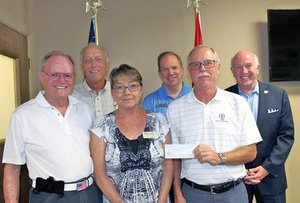 Photo submitted Local charities receiving grants from the Bella Vista Foundation from net proceeds of the recent 2018 Cooper Communities NWA Charity Classic professional golf tournament were: Curt Stoops (back, left), BV Animal Shelter; Tom Judson, COO Bella Vista POA; Peter Christie, mayor; Tom Pyatt (front, left), vice-president Bella Vista Foundation; Diedre Knight, BV Animal Shelter; and Charlie Teal, president, Bella Vista Foundation.