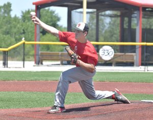 Rick Peck/Special to McDonald County Press Cade Smith throws a pitch in his four-inning no-hitter to lead McDonald County to a 10-0 win over the Arkansas Express on June 29 in the Fort Scott 18U Baseball Tournament in Fort Scott, Kan.